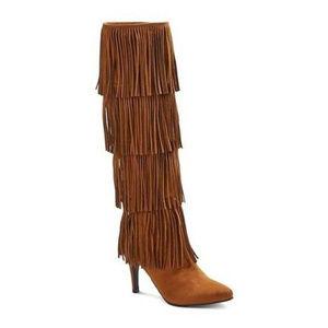 NEW Plume Faryl Robin Tall Fringe OTK Brown Boots